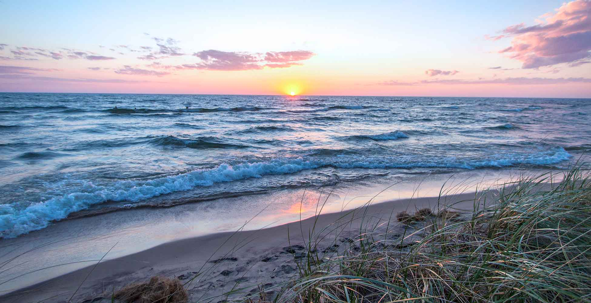 West Michigan beach at sunset