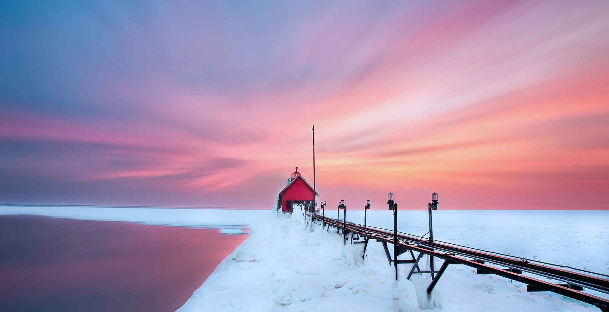 icy pier in West Michigan